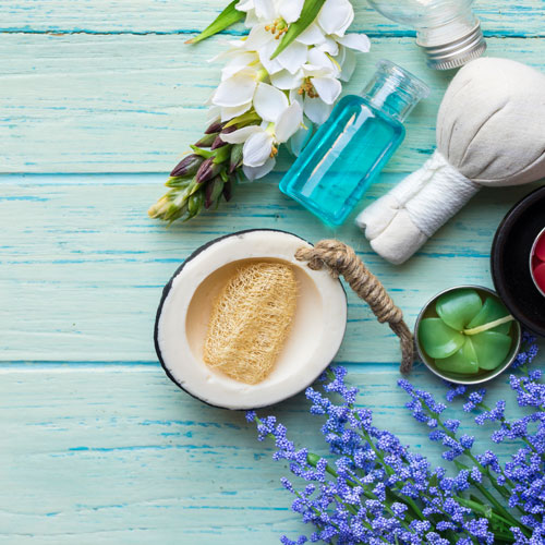 Flowers and spa materials